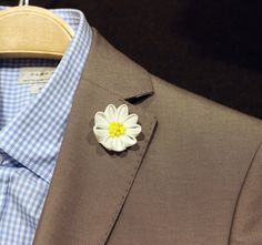 Cotton Linen daisy wedding boutonniere mens lapel by Nevestica, $14.00