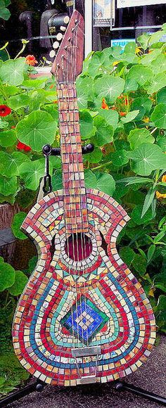 mosaic guitar - for Josh be cool to find an old guitar and do this