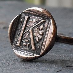 Copper Initial Ring  Wax Seal Style MADE TO by janewearjewelry, $64.00