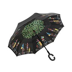 Close Up Shot Of Tie Dye Pattern Double Layer Windproof UV Protection Reverse Umbrella With C-Shaped Handle Upside-Down Inverted Umbrella For Car Rain Outdoor