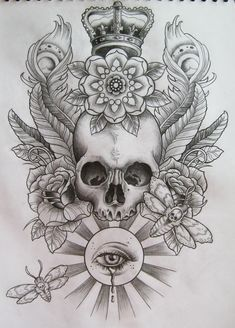 beautiful skull tattoo pencil sketch with soft shading, king crown hat, big rose…
