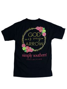 Simply Southern God is My Arrow YOUTH Tee - Navy