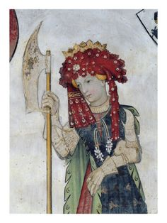 The Nine Worthies and the Nine Worthy Women, Detail of Tamari, 1418-30 (Fresco) Lámina giclée por Giacomo Jaquerio en AllPosters.es