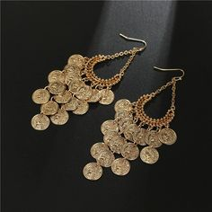 Coin Pendant Earrings for Girls and Women's. Gold plated Long Tassel Drop Dangle Earrings. Coin Pendant, Pendant Earrings, Tassel Earrings, Crochet Earrings, Gold Necklace, Drop Earrings, Girls Earrings, Costume Jewelry, Dangles