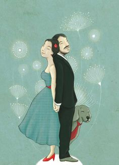 Custom wedding illustration - Couple portrait - Digital illustration Irene Bofill