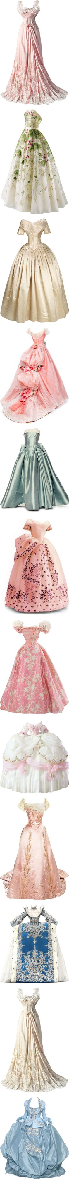 Fashion From the Past by satinee on Polyvore featuring dresses, gowns, vestidos, long dresses, satinee, retro print dress, vintage long dress, retro-style dresses, vintage ball gowns and pink ball gown