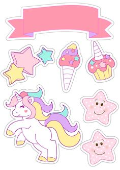 Topo de bolo para festinha com tema unicórnio Unicorn Drawing, Unicorn Art, Rainbow Unicorn, Printable Stickers, Cute Stickers, Planner Stickers, Frozen Birthday, Unicorn Birthday Parties, Unicorn Pictures