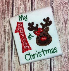 My First Christmas Reindeer Applique Shirt by NoOdLeSBoutique