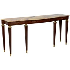 A Pair of Italian Modern Walnut and Fruitwood Marquetry Inlaid, Bronze Mounted Onyx Top Consoles   From a unique collection of antique and modern console tables at https://www.1stdibs.com/furniture/tables/console-tables/