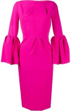Roksanda bell sleeve dress Pink Long Sleeve Dress, Bell Sleeve Dress, Dresses With Sleeves, Sleeve Dresses, Dress Long, Pleated Dresses, Ruffle Sleeve, Fuschia Pink Dress, Bright Pink Dresses
