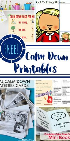 Here are FREE calm down printables that are effective in teaching and providing kids with the necessary skills to calm down. Print these out, keep them in your purse, hang them on a wall, stick them to the fridge, and you will notice a difference. Calm Down Box, Calm Box, Calm Down Corner, Cozy Corner, Calming Activities, Learning Activities, Activities For Kids, Classroom Behavior, Classroom Management