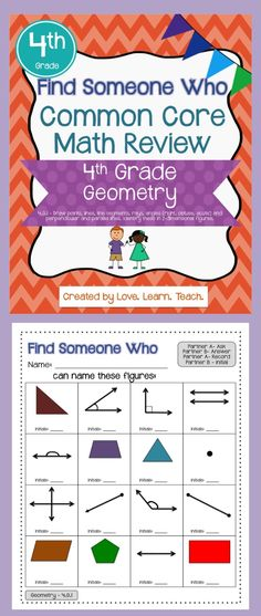 Geometry Review - Find Someone Who (cooperative learning structure)  Great for students as an alternative to independent practice, as review before a quiz, spiral review throughout the year, or test prep. Fourth Grade Common Core aligned (4.G.1). $