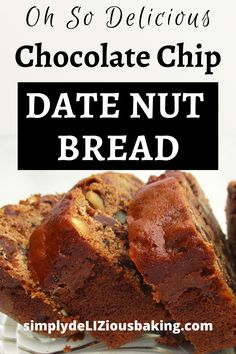 Chocolate Chip Date Nut Bread - One of the Best Breakfast or Quick Bread Recipes. Quick Bread Recipes, Easy Baking Recipes, Best Breakfast, Breakfast Recipes, Breakfast Ideas, Yummy Snacks, Delicious Desserts, Date Nut Bread, Date Recipes