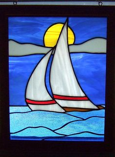 fusion glass patterns for chimes   Sailboat Stained Glass