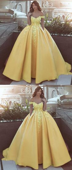Prom Dresses Elegant, off the shoulder flower Ball Gown Prom Dress Appliques Lace Satin Wedding Dress Reception Gown, Mermaid prom dresses, two piece prom gowns, sequin prom dresses & you name it - our 2020 prom collection has everything you need! Ball Gowns Evening, Ball Gowns Prom, Ball Gown Dresses, Wedding Gowns, Yellow Wedding Dresses, Evening Dresses, Wedding Yellow, Yellow Ball Dresses, Dresses For Balls