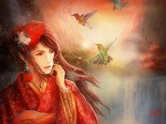 A titkos kert - titkos kert, piros, Colibri, Luminos, kolibri madár, leány, virág, ázsiai, madár, nő, tira bagoly, fantázia