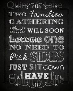 Chalkboard No Seating Plan Sign Wedding by QuinnAndLaneDesigns - Hochzeit Wedding Dinner, Casual Wedding, Trendy Wedding, Fall Wedding, Rustic Wedding, Our Wedding, Dream Wedding, Wedding Greenery, Wedding Things