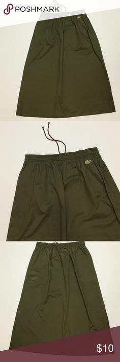 a2961e9a54e87 Vintage Lacoste Skirt Vintage Lacoste Olive Green long skirt. Cotton  fabric. Lacoste logo on