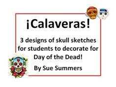 Spanish Day of the Dead / Halloween Calaveras Sketches to Decorate by Sue Summers - Dia de los Muertos craft