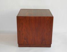 Mid Century Walnut Cube Table/Pedestal By Milo Baughman