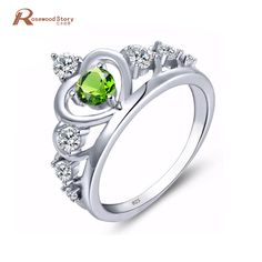 >> Click to Buy << New Crown Rings for Women Bague 925 Silver Peridot Cubic Zircon Jewelry Heart Princess Crystal August Birthstone Ring Size 5-11 #Affiliate