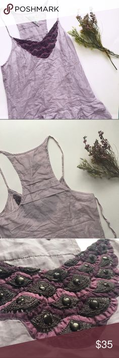 {Free People} Vintage Lilac Beaded Tank ❃ excellent used condition ❃ vintage ❃ 100% authentic   x trades  ✓ offers  ✓ bundles   Light and flows, this lavender layered free people vintage tank would be perfect paired with a cardigan for sweet spring days. With beaded neckline detail, pleated back, and loose peplum overlay hem detail, this delicate spaghetti strap will become one of your closet staples! Free People Tops Tank Tops
