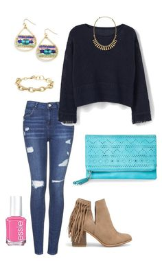 """""""Untitled #424"""" by kmysoccer on Polyvore featuring Topshop, MANGO, Nakamol Design, Urban Expressions, Essie, Nly Shoes and Stella & Dot"""