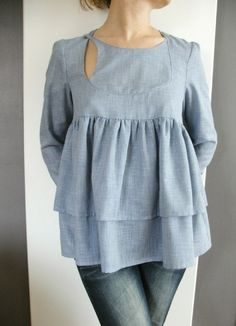 FASHION - IDEAS - Bow Window Blouse, Blue light like a jeans color ($50-100) - Svpply