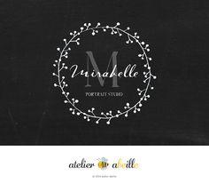 premade logo design chalkboard logo floral by atelierabeille
