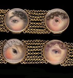 A PAIR OF RARE GOLD GEORGIAN BRACELETS WITH EYE MINIATURES, circa 1800. Each with six round glass fronted, hinged locket compartments enclosing a miniature painting of an eye, linked by eight rows of fine gold trace chain and with concealed tongue and box clasps, the twelve eyes, finely painted in watercolor, are possibly members of the same family.