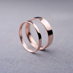 2mm and 4mm 14K Rose Gold Wedding Bands 14K by LilyEmmeJewelry