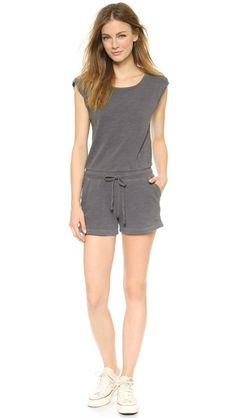 easy flattering romper ideal for casual weekend sporty look / Splendid Short Sleeve Romper