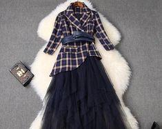Plaid Suit, Plaid Blazer, Blazer Suit, Printed Blazer, Mode Hijab, Korean Fashion, Skirt Set, Casual Outfits, Fashion Dresses