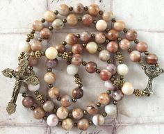 Morocco Agate Rosary Holy Communion Vintage by GloriaRosaries