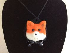 Necklace fox red fox necklace for girl needle felted by Felt4Soul