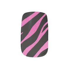 Black With Pink Zebra Minx Nails Nail Wraps #nails #nailart #fashion #beauty #fingernails #women #nailwraps #minx #zebra