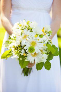White, Yellow Green Bridal Bouquet  Gerbera Daisies  Emma &Ian - Portfolio - InFullBloombyMJL