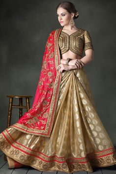 Red and Beige Heavy Bridal Saree