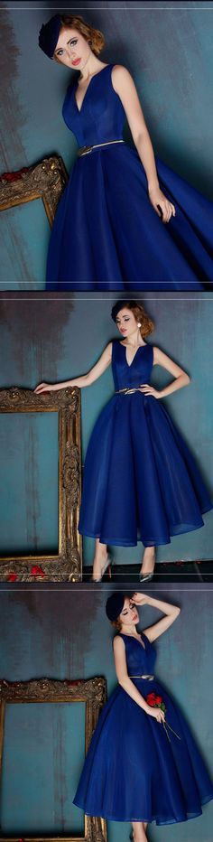 Royal Blue Midi Prom Dress,Elegant Organza Prom Dress,Custom Made Evening Dress,17367