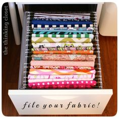 Clever fabric storage idea - easy to see all at once!
