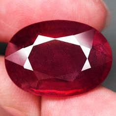 22.09CT.JUMBO! OVAL FACET TOP BLOOD RED NATURAL RUBY MADAGASCAR NR! #GEMNATURAL