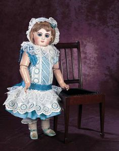 Very Beautiful French Bisque Bebe EJ by Emile Jumeau with Signed Blue Shoes