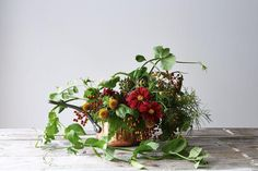 6 Summery Flower (& Food) Arrangements for Every Style: Rustic. #food52