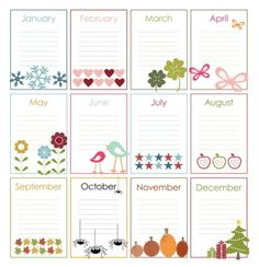 Free Printable Perpetual Calendars-the birthday calendar came together very nicely To Do Planner, Planner Pages, Happy Planner, Printable Planner, Planner Stickers, Free Printables, Printable Calendars, Calendar Templates, Monthly Planner