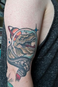 Space Dinosaur by Sissel from True Rebel Tattoo Hamburg