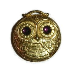 Vintage Revlon Solid Perfume Owl Compact by PopcornVintageByTann