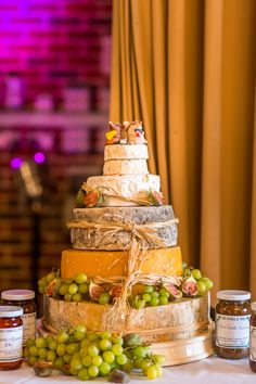 Cheese Tower Stack Cake Quirky Spring Barn Humanist Wedding Bethmoseleyphotography