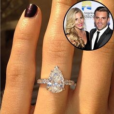 Iggy Azalea, Kim Kardashian, Lauren Conrad and more stars who shared their engagement news with a portrait of their bling Engagement Ring Shapes, Dream Engagement Rings, Solitaire Engagement, Wedding Engagement, Tiffany Engagement, Wedding Rings For Women, Wedding Bands, The Bling Ring, Pear Shaped Diamond