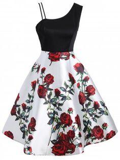 Stylish Asymmetric Sleeveless Floral Dress, Rose / S Cute Prom Dresses, Trendy Dresses, Dance Dresses, Sexy Dresses, Vintage Dresses, Casual Dresses, Short Dresses, Elegant Dresses, Summer Dresses
