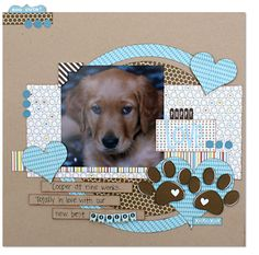 #papercraft #scrapbook #layout Puppy Love layout by Kim Holmes  - great colour combination